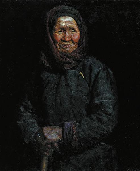 6围红头巾的老太太 曹新林作